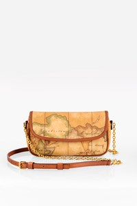 Alviero Martini 1ª Classe Beige Geo Map Crossbody Bag
