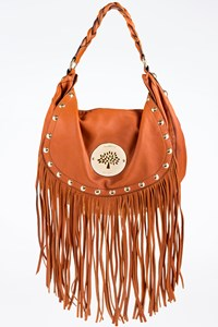 Mulberry Tan Daria Leather Shoulder Bag with Fringes