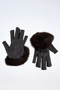 Agnelle Black Leather Driving Gloves with Real Fur Trim