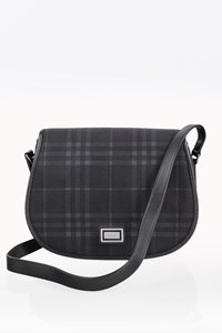 Burberry Black - Grey Check Coated Canvas Shoulder Bag