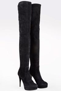 Lavorazione Artigiana Black Suede Over-The-Knee Boots / Size: 38.5- Fit: True to size