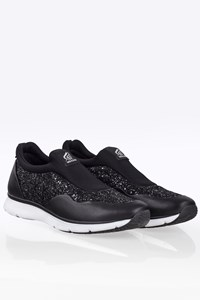 Hogan Black Traditional Pantofola Sneakers with Glitter / Size: 36 - Fit: True to size