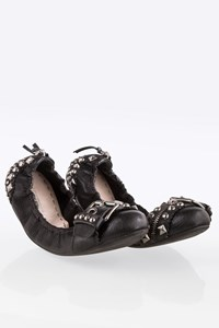 Miu Miu Black Leather Studded Ballerinas / Size: 39 - Fit: True to size