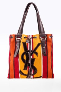 YSL Multicoloured Striped Kahala Canvas Small Shopper Bag
