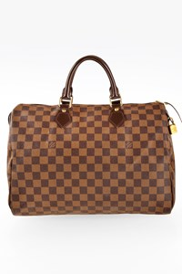 Louis Vuitton Damier Ebene Canvas Speedy 35 Tote Bag