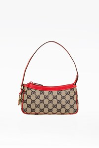 Gucci GG Canvas Pochette with Red Leather Details