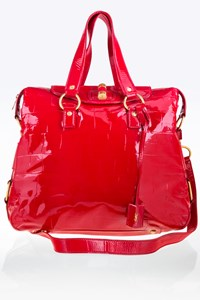 YSL Red Croc Embossed Patent Leather Tote Bag