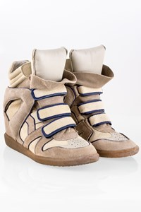Isabel Marant Ecru Bekett Suede Wedge Sneakers / Size: 41 - Fit: True to size