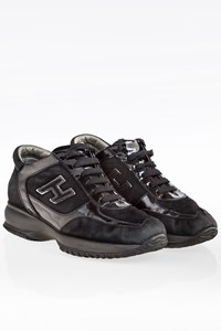 Hogan Black Interactive Suede and Patent Leather Sneakers / Size: 36 - Fit: 37