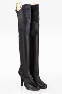 Gucci Black Logo Leather Over-the-knee Boots / Size: 39C - Fit: True to size