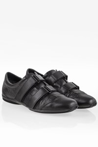 Gucci Black GG Leather Velcro Sneakers / Size: 38 - Fit: 39