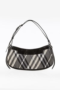 Burberry Grey-White-Black Check Printed Shoulder Bag
