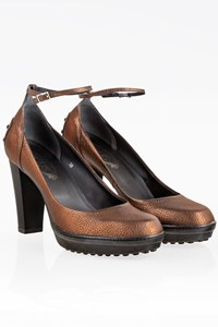 Tod's Bronze Leather Ankle Strap Pumps / Size: 38 - Fit: 38.5