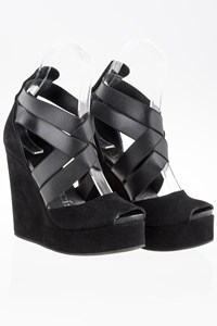 Pedro Garcia Black Suede Platform Sandals / Size: 39 - Fit: True to size