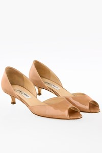 Jimmy Choo Lyon Nude Patent Leather Kitten Heel Pumps / Size: 37.5 - Fit: True to size