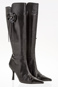 Chanel Vintage Black Leather Pointed Boots / Size: 37 C - Fit: True to size