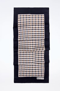Aquascutum Check Printed Satin-Like Oblong Scarf