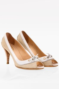 Tod's Beige Canvas and White Leather Peep-Toe Pumps / Size: 38 - Fit: 38.5