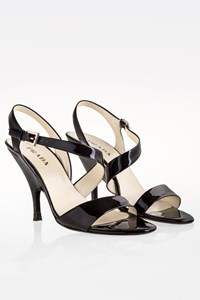 Prada Black Patent Leather Sandals / Size: 37.5 - Fit: 38