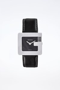Gucci 3600J G Series Stainless Steel Watch with Patent Leather Strap