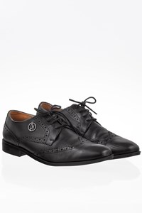 Armani jeans Black Leather Derby / Size: 40 - Fit: True to size