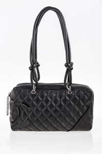 Chanel Ligne Cambon Black Quilted Leather Tote Bag