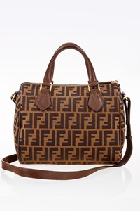 Fendi FF Logo Zucca Canvas Tote Bag with Shoulder Strap