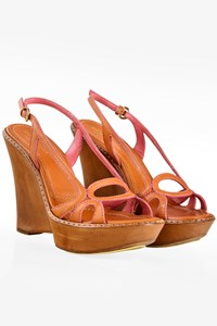 Sergio Rossi Tan Leather Peep-Toe Sandals with Wedges / Size: 37 - Fit: True to size