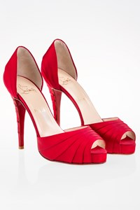 Christian Louboutin Armadillo Red Satin Peep-Toe Pumps / Size: 39 - Fit: True to size