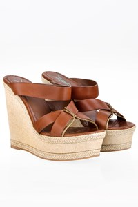 YSL Icone 90 Brown Leather Wedges Sandals / Size: 37 - Fit: True to size