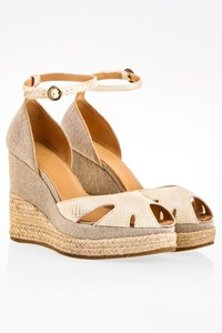 Hogan Ecru Snake Skin Wedge Sandals / Size: 37 - Fit: True to size