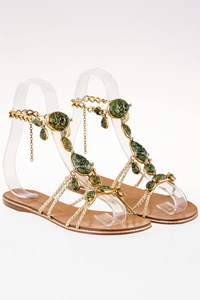 Giuseppe Zanotti Gold Strappy Sandals with Green Gemstones / Size: 37.5 - Fit: 38