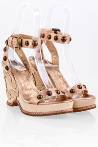 Anna Sui Bronze Metallic Leather Sandals / Size: 36 - Fit: 36.5