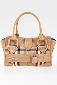 Burberry Beige Manor Leather-Check Bag