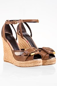 Burberry Brown Leather-Check Canvas Wedge Sandals / Size: 37 - Fit: 36.5