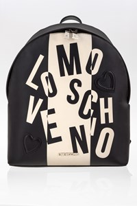 Love Moschino Black Logo Faux Leather Backpack