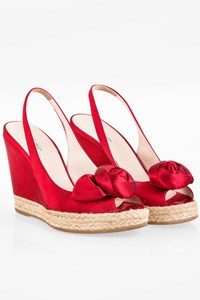 Prada Red Satin Peep-Toe Sandal Platforms / Size: 37 - Fit: True to size