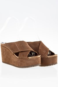 Pedro Garcia Tibby Brown Suede Criss-Cross Platform Mules / Size: 39 - Fit: 40