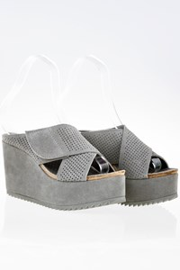 Pedro Garcia Tibby Grey Suede Criss-Cross Platform Mules / Size: 39 - Fit: 40