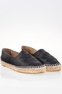 Chanel Black Leather Espadrilles with Emellished CC logo / Size: 39 - Fit: 38.5