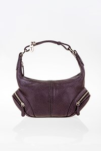 Tod's Dark Aubergine Charlotte Leather Mini Hobo Bag