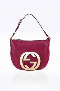 Gucci Purple Blondie GG Logo Small Leather Hobo Shoulder Bag