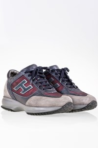 Hogan Grey-Burgundy Suede Interactive Sneakers / Size: 37.5 - Fit: 38.5
