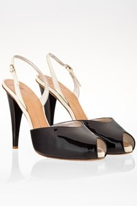 Giuseppe Zanotti Black and White Patent Leather Peep-Toe Slingbacks / Size: 38 - Fit: True to size