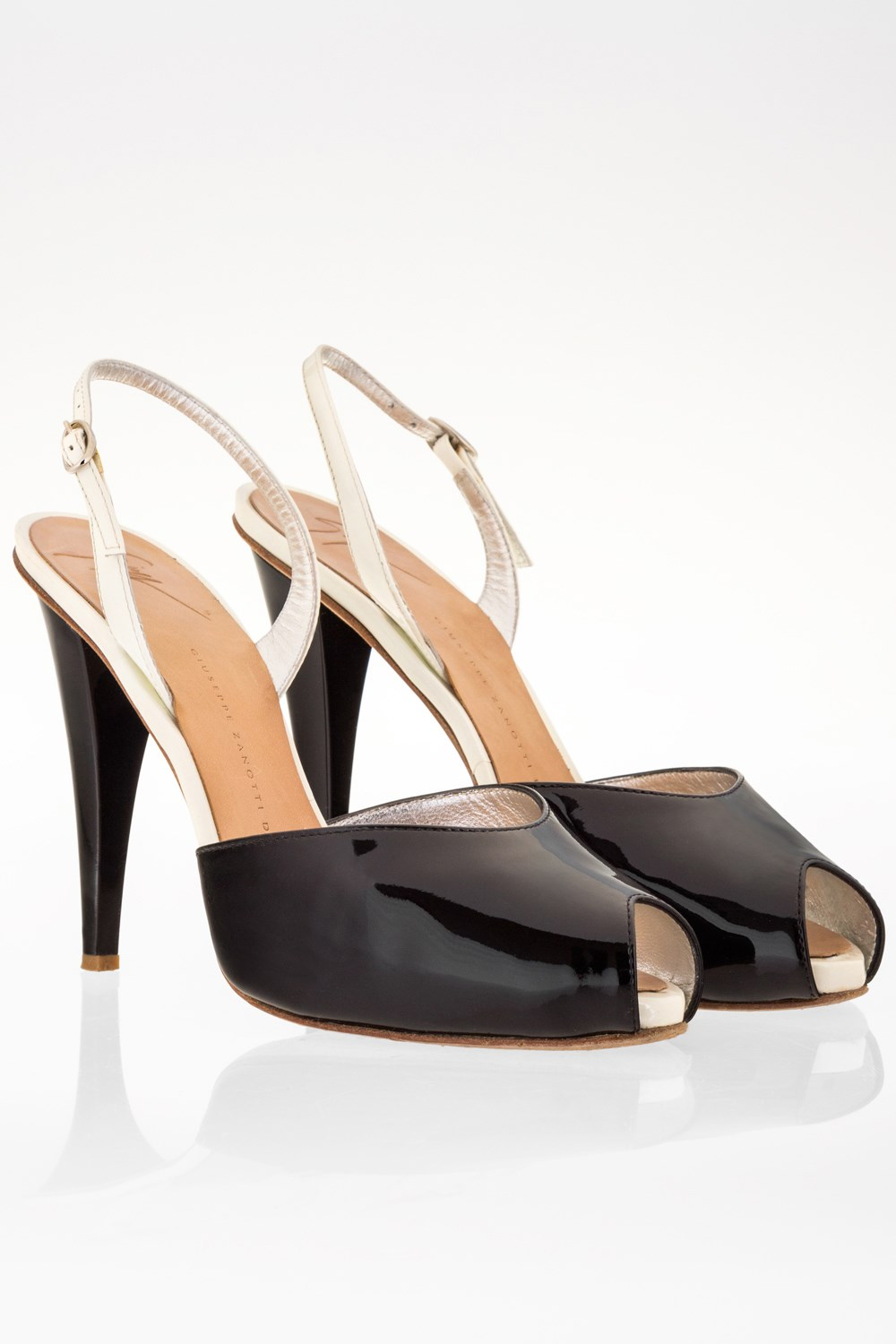 Black and White Patent Leather Peep-Toe Slingbacks   Size  38 - Fit ...