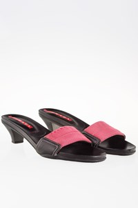 Prada Sport Black-Pink Leather and Canvas Mules  / Size: 37.5 - Fit: 38