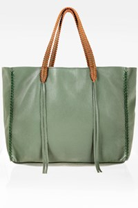 CALLISTA CRAFTS Green Leather Tote Bag with Hand-Stitched Details