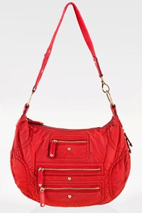 Tod's Red Nylon Pashmy Luna Media Shoulder Bag