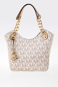 MICHAEL Michael Kors Lilly MK Signature Ecru Shoulder Bag