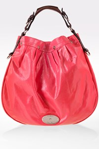 Mulberry Coral Pink Mitzy Creased Patent Hobo Bag